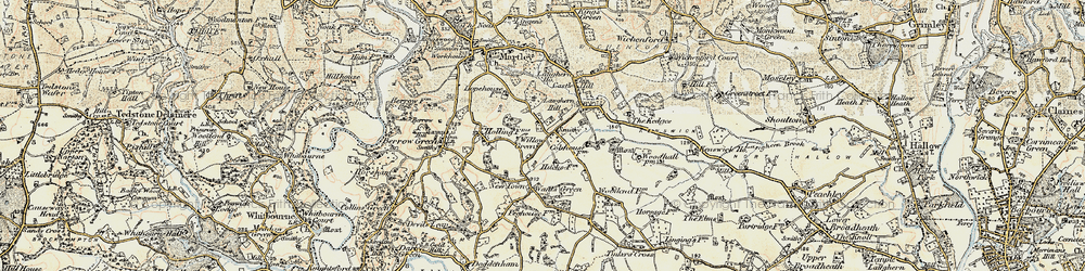 Old map of Willow Green in 1899-1902