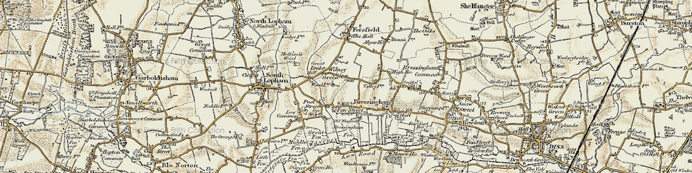 Old map of Wilney Green in 1901