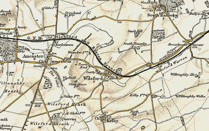 Old map of Wilsford in 1902-1903