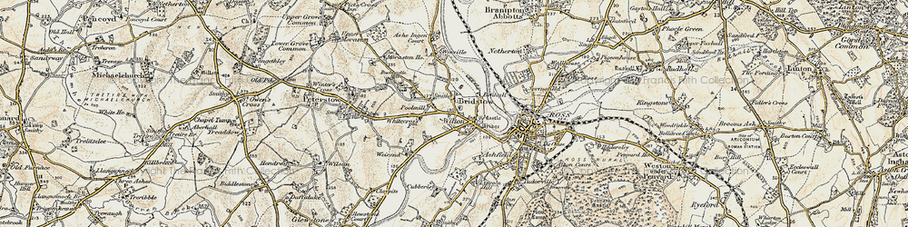 Old map of Wyelea in 1899-1900