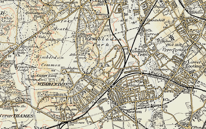 Old map of Wimbledon in 1897-1909