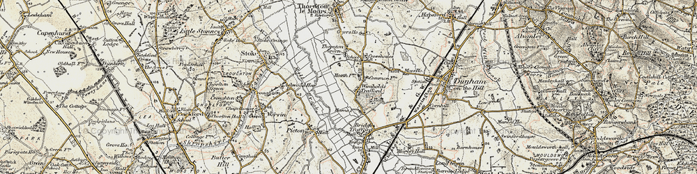 Old map of Wimbolds Trafford in 1902-1903