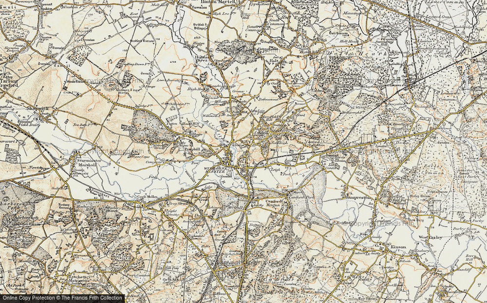 Old Map of Wimborne Minster, 1897-1909 in 1897-1909