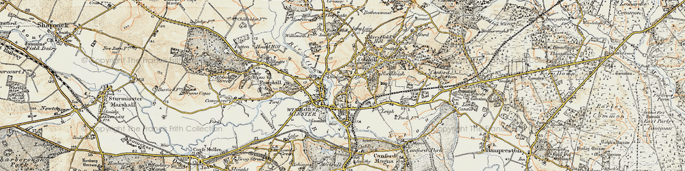 Old map of Wimborne Minster in 1897-1909