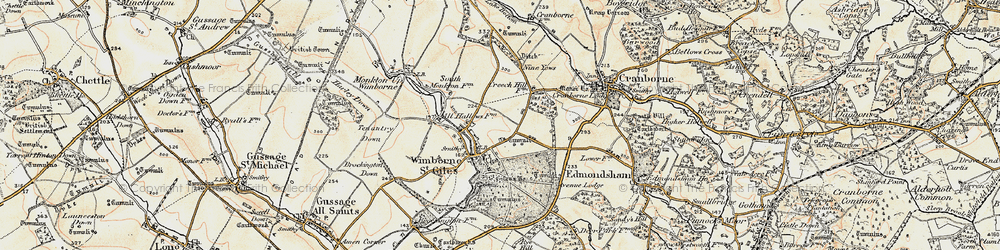 Old map of Wimborne St Giles in 1897-1909