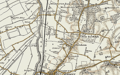 Old map of Wimbotsham in 1901-1902