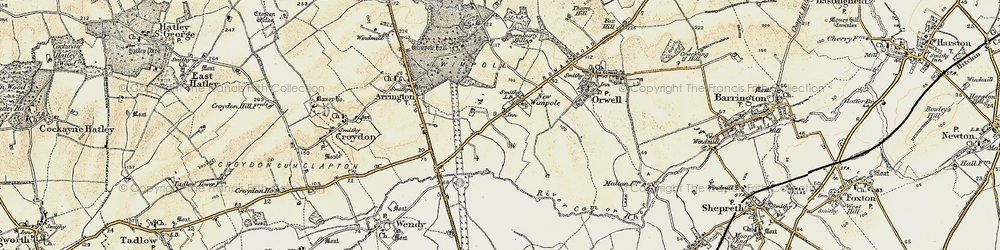 Old map of Wimpole in 1899-1901