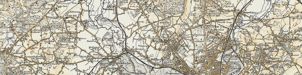Old map of Wimpson in 1897-1909