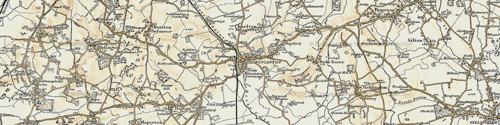 Old map of Wincanton in 1897-1899