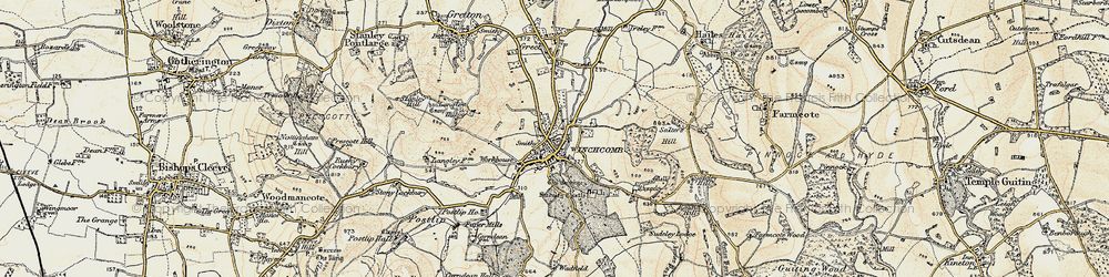 Old map of Winchcombe in 1899-1900