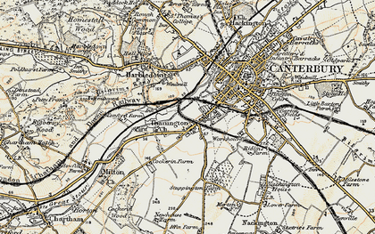 Old map of Wincheap in 1898-1899