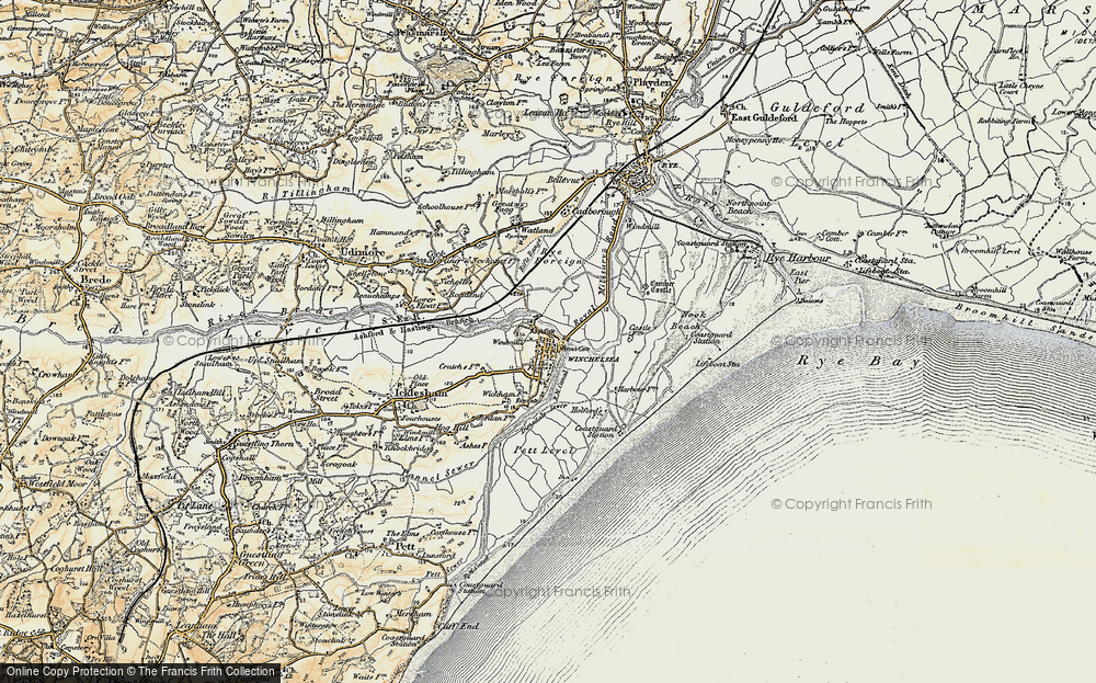 Old Map of Winchelsea, 1898 in 1898