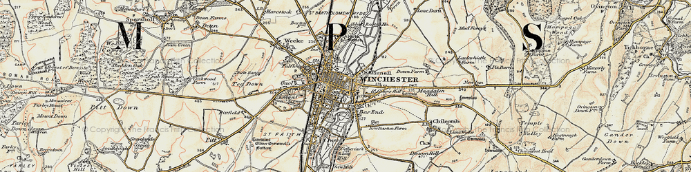 Old map of Winchester in 1897-1900