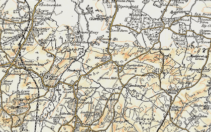 Old map of Winchet Hill in 1897-1898