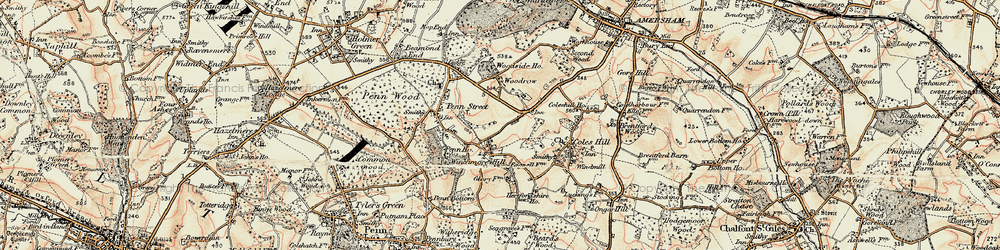 Old map of Winchmore Hill in 1897-1898