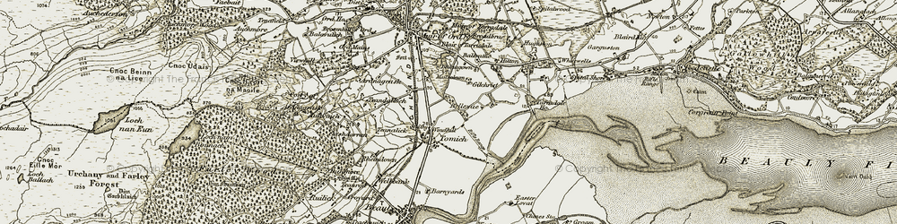 Old map of Tomich Ho in 1911-1912