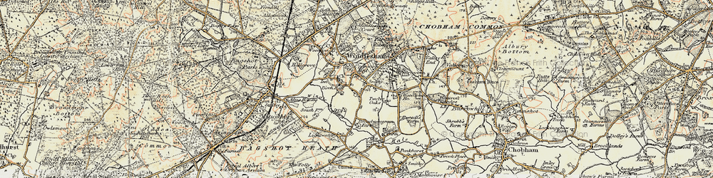 Old map of Windlesham in 1897-1909