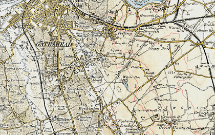 Old map of Windy Nook in 1901-1904
