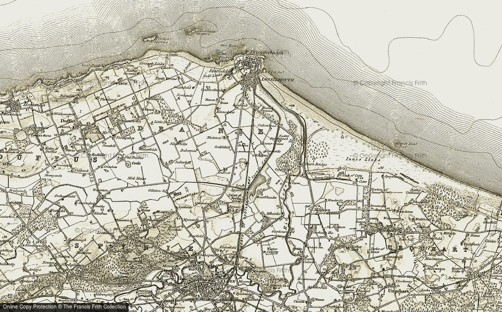 Old Map of Historic Map covering Balormie in 1910-1911