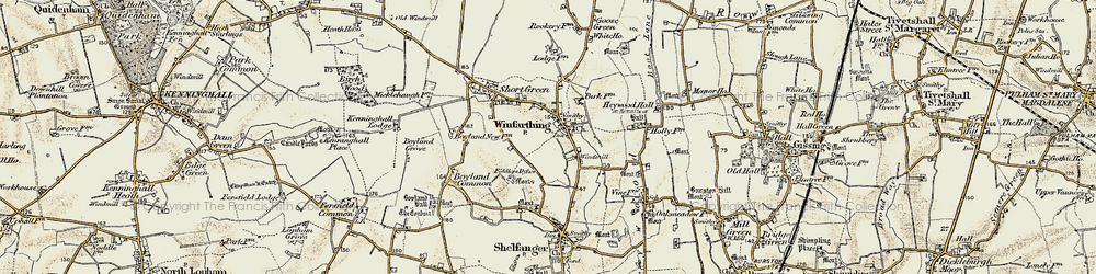 Old map of Winfarthing in 1901