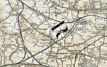 Old map of Wingates in 1903
