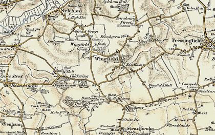 Old map of Wingfield in 1901-1902