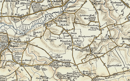 Old map of Wingfield Green in 1901-1902