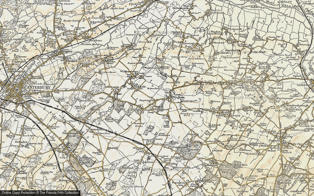 Old Map of Wingham Green, 1898-1899 in 1898-1899