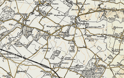 Old map of Wingham Well in 1898-1899