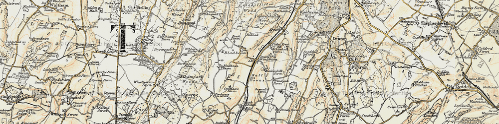 Old map of Wingmore in 1898-1899