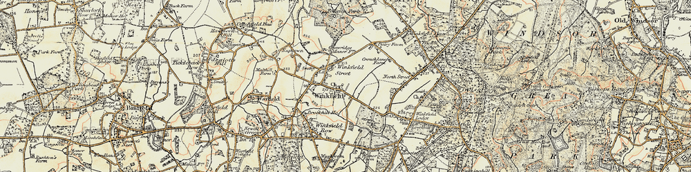 Old map of Winkfield in 1897-1909