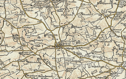Old map of Winkleigh Wood in 1899-1900