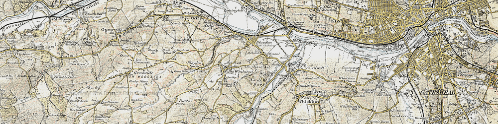 Old map of Winlaton in 1901-1904