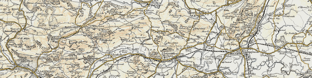 Old map of Winllan Hill in 1902-1903