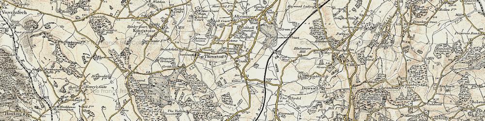 Old map of Winnal in 1900-1901