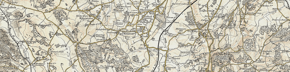 Old map of Winnal Common in 1900-1901