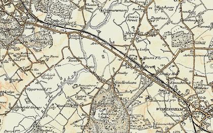 Old map of Winnersh in 1897-1909