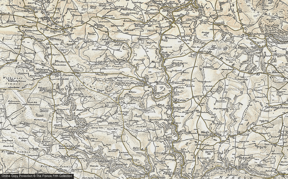 Old Map of Historic Map covering Leigh in 1900