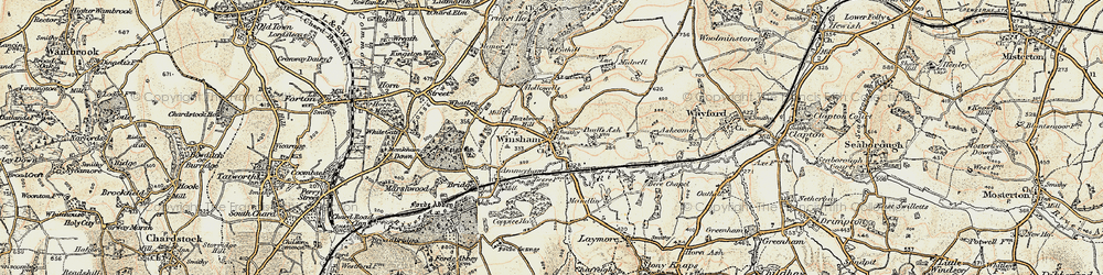 Old map of Winsham in 1898-1899