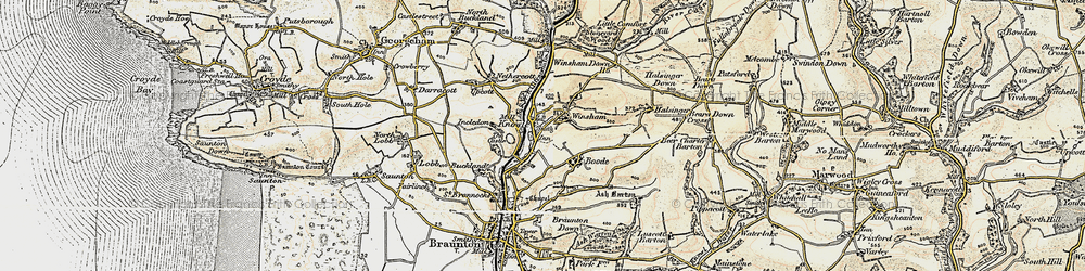 Old map of Winsham in 1900