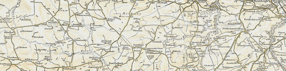 Old map of Wrangworthy Cross in 1900