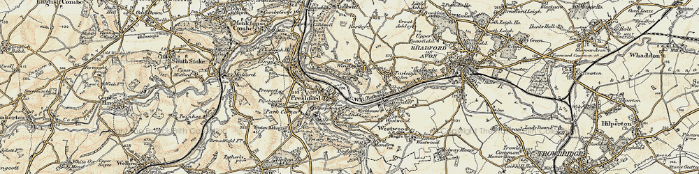 Old map of Winsley in 1898-1899