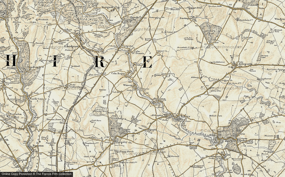 Old Map of Historic Map covering Ablington Downs in 1898-1899