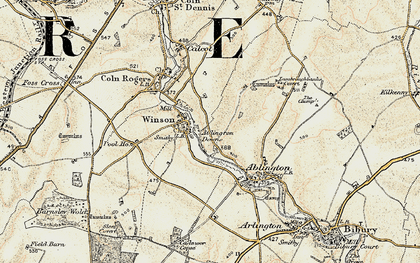 Old map of Ablington Downs in 1898-1899