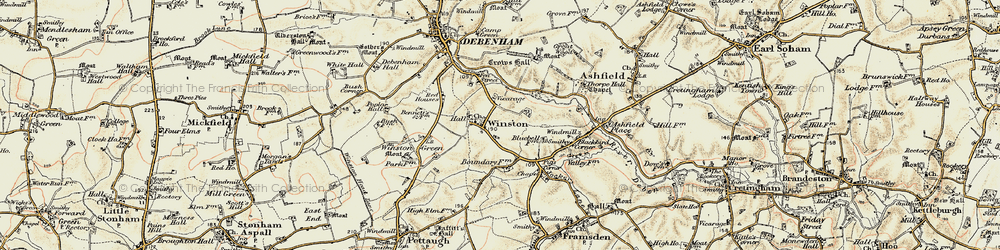 Old map of Winston Grange in 1898-1901
