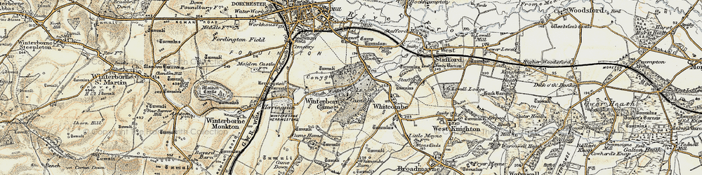 Old map of Winterborne Came in 1899