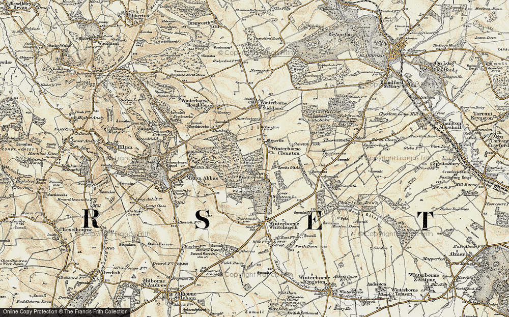 Old Map of Historic Map covering Whatcombe Wood in 1897-1909