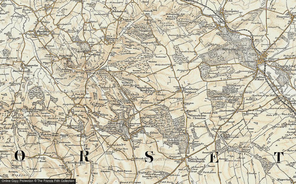 Old Map of Winterborne Houghton, 1897-1909 in 1897-1909