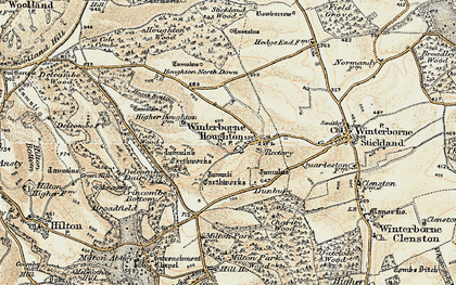 Old map of Winterborne Houghton in 1897-1909