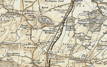 Old map of Winterborne Monkton in 1899